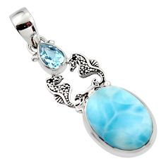 13.40cts natural blue larimar topaz 925 sterling silver seahorse pendant r43812