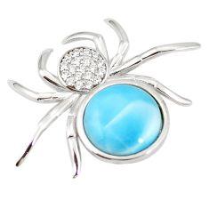 Natural blue larimar topaz 925 sterling silver spider pendant a76382 c15400