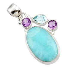 16.17cts natural blue larimar topaz amethyst 925 silver pendant jewelry d43742