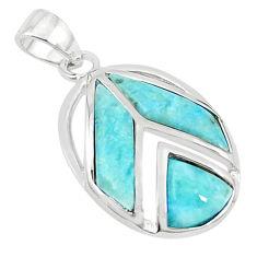 Natural blue larimar trillion 925 sterling silver pendant jewelry a68945 c14069