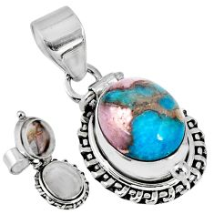 5.12cts natural blue opal in turquoise 925 silver poison box pendant r55601