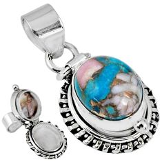 5.30cts natural blue opal in turquoise 925 silver poison box pendant r55602