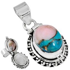 4.93cts natural blue opal in turquoise 925 silver poison box pendant r55603