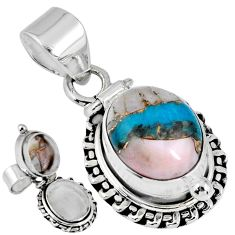 5.30cts natural blue opal in turquoise 925 silver poison box pendant r55605