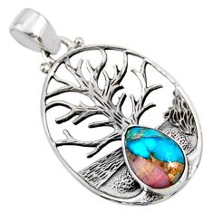 4.21cts natural blue opal in turquoise 925 silver tree of life pendant r52993