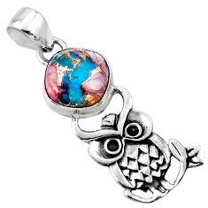 5.11cts natural blue opal in turquoise 925 sterling silver owl pendant r52933