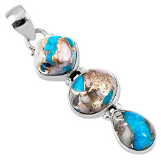 15.08cts natural blue opal in turquoise 925 sterling silver pendant r56206