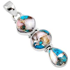 14.07cts natural blue opal in turquoise 925 sterling silver pendant r56209