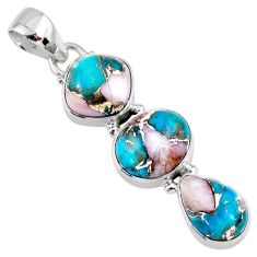 14.52cts natural blue opal in turquoise 925 sterling silver pendant r56214
