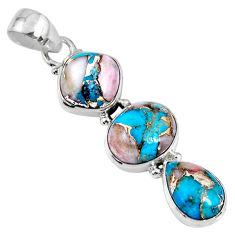 14.68cts natural blue opal in turquoise 925 sterling silver pendant r56218