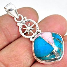 15.39cts natural blue opal in turquoise 925 sterling silver pendant r90344