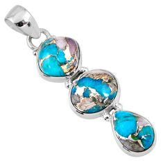 14.23cts natural blue opal in turquoise oval 925 sterling silver pendant r56201