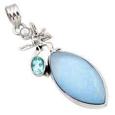 blue owyhee opal 925 silver angel wings fairy pendant d42289