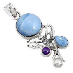 blue owyhee opal 925 silver angel wings fairy pendant d42445