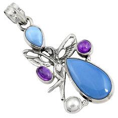 blue owyhee opal 925 silver angel wings fairy pendant d42450