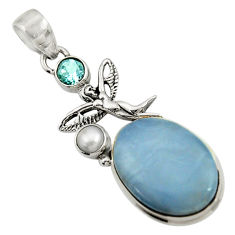 Clearance Sale- 16.92cts natural blue owyhee opal 925 silver angel wings fairy pendant d42856