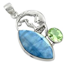 27.25cts natural blue owyhee opal 925 silver crescent moon star pendant r39125