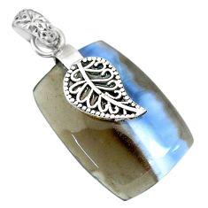 Clearance Sale- 20.61cts natural blue owyhee opal 925 silver deltoid leaf pendant r91346