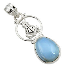 Clearance Sale- 10.81cts natural blue owyhee opal 925 sterling silver frog pendant d42859