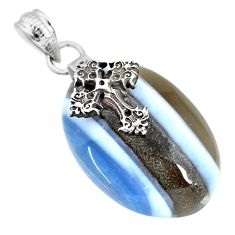 25.15cts natural blue owyhee opal 925 sterling silver holy cross pendant r91360