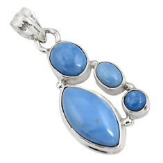 Clearance Sale- 12.52cts natural blue owyhee opal 925 sterling silver pendant jewelry d42446
