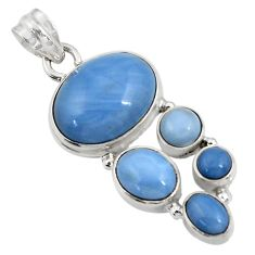 Clearance Sale- 15.39cts natural blue owyhee opal 925 sterling silver pendant jewelry d42460