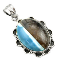 20.33cts natural blue owyhee opal 925 sterling silver pendant jewelry r32153