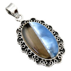 19.48cts natural blue owyhee opal 925 sterling silver pendant jewelry r32157