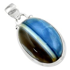 15.08cts natural blue owyhee opal 925 sterling silver pendant jewelry r46401