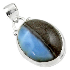 12.85cts natural blue owyhee opal 925 sterling silver pendant jewelry r46404