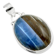 14.85cts natural blue owyhee opal 925 sterling silver pendant jewelry r46407