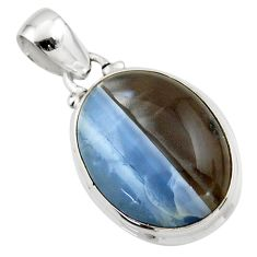 12.98cts natural blue owyhee opal 925 sterling silver pendant jewelry r46409
