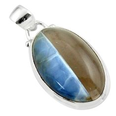 13.65cts natural blue owyhee opal 925 sterling silver pendant jewelry r46410