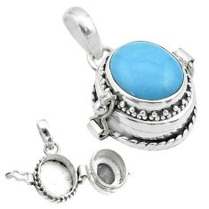 4.55cts natural blue owyhee opal 925 sterling silver poison box pendant t52725
