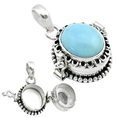 4.82cts natural blue owyhee opal 925 sterling silver poison box pendant t52744