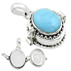 4.83cts natural blue owyhee opal 925 sterling silver poison box pendant t52747