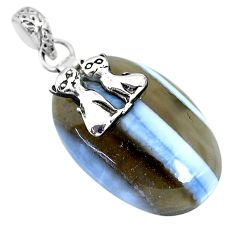 25.89cts natural blue owyhee opal 925 sterling silver two cats pendant r91358