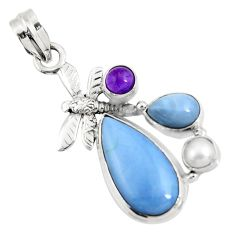Clearance Sale- 14.26cts natural blue owyhee opal amethyst 925 silver dragonfly pendant d42441
