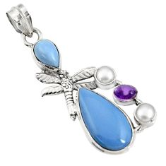 15.93cts natural blue owyhee opal amethyst 925 silver dragonfly pendant d42449