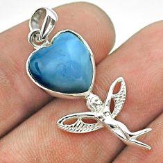 5.87cts natural blue owyhee opal heart silver angel wings fairy pendant t55280