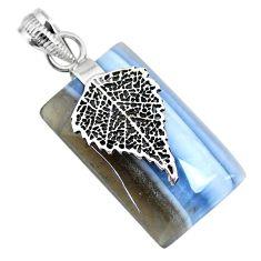 Clearance Sale- 20.45cts natural blue owyhee opal octagan silver deltoid leaf pendant r91351