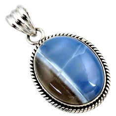 19.20cts natural blue owyhee opal oval 925 sterling silver pendant r27945