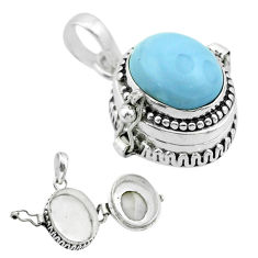 5.01cts natural blue owyhee opal oval sterling silver poison box pendant t52733