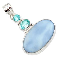 Clearance Sale- 19.72cts natural blue owyhee opal topaz 925 sterling silver pendant d42288