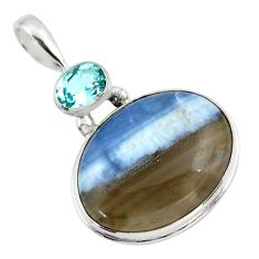 22.02cts natural blue owyhee opal topaz 925 sterling silver pendant r32158