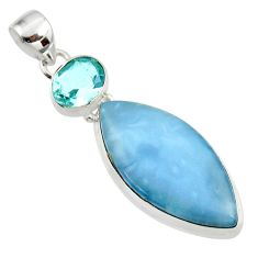 17.42cts natural blue owyhee opal topaz 925 sterling silver pendant r44936