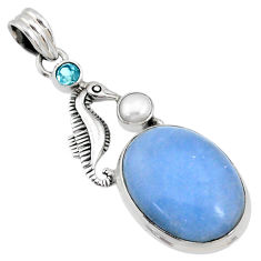 21.18cts natural blue owyhee opal topaz pearl 925 silver seahorse pendant r72922