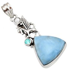 Clearance Sale- 19.23cts natural blue owyhee opal topaz pearl 925 silver unicorn pendant d42290