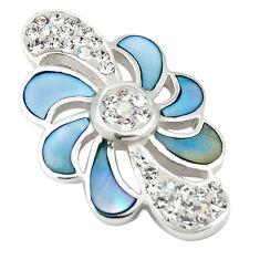 Natural blue pearl topaz enamel 925 sterling silver pendant a69681 c14721