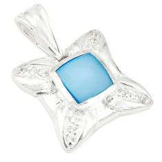Natural blue pearl topaz enamel 925 sterling silver pendant a75962 c14725